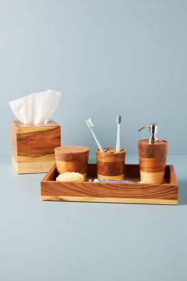 Anthropologie Layered Wood Bath Collection By in Beige Size CANISTER