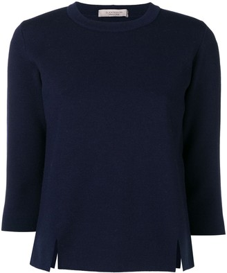 D-Exterior Side Slit Cropped Sleeve Sweater