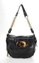 Badgley Mischka Black Leather Gold Chain Strap Small Shoulder Handbag