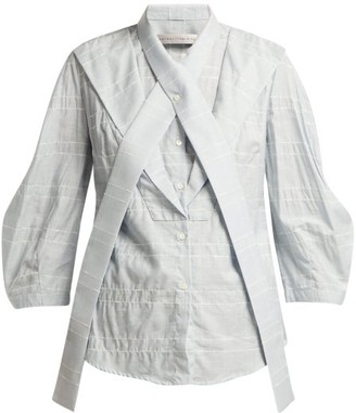 Palmer Harding Palmer//Harding Palmer//harding - Fragment Neck Tie Slubbed Poplin Shirt - Womens - Blue
