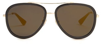Gucci Mirrored Aviator Sunglasses - Mens - Gold Multi