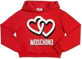 Moschino Hearts Hooded Crop Cotton Sweatshirt