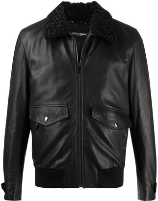 Dolce & Gabbana Fur Collar Zip-Up Biker Jacket