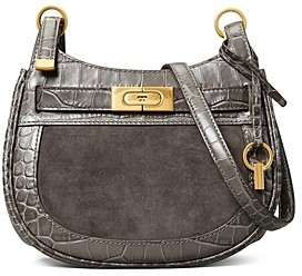 Tory Burch Lee Radziwill Small Embossed Leather & Suede Saddle Bag