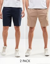 Asos 2 Pack Skinny Tailored Chino Shorts In Navy And Stone