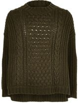River Island Girls khaki green cable knit top