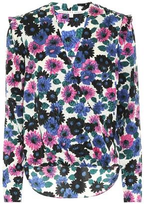 Veronica Beard Buzio floral stretch-silk top