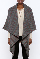 She + Sky Textured Grey Striped Vest