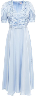 Shrimps Leonora Ruched Silk-satin Midi Dress