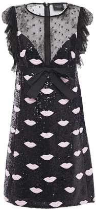 Giambattista Valli Embellished Point D'esprit-paneled Crepe Mini Dress