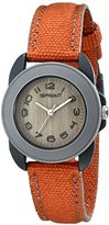 Sprout Women's ST/1036GYGYOR Orange Organic Cotton Strap Dark Bamboo Dial Watch