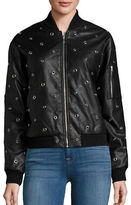 Design Lab Lord & Taylor Embellished Faux Leather Bomber Jacket