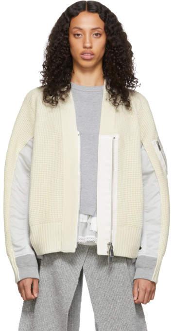 Sacai Off-White Wool Zip Cardigan