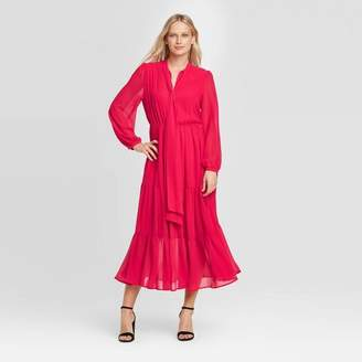 Who What Wear Women's Long Sleeve Round Neck Romantic Midi Dress - Who What WearTM
