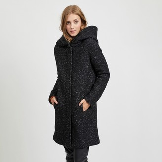 Vila Hooded Wool Mix Coat with Pockets