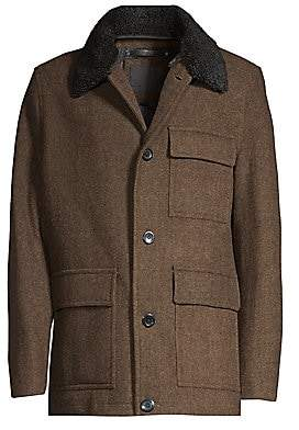 Andrew Marc Men's Faux Fur Trim Wool Button-Front Coat