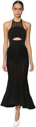 David Koma Striped Sheer Macrame & Cady Midi Dress