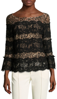 Tracy Reese Embroidered Lace Striped Blouse