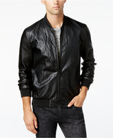 GUESS Men's Perforated Faux-Leather Bomber Jacket