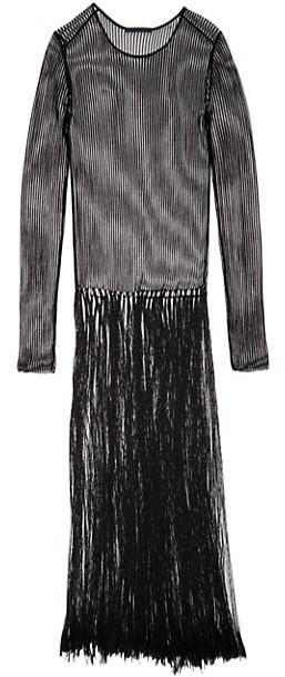 Thumbnail for your product : Helmut Lang Fringe Mesh Maxi Dress