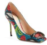 Gucci Women's Dionysus Embellished Square Toe Pump