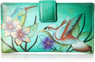 Anuschka Women's Handpainted Leather Two Fold Birds in Paradise Green Wallet One Size