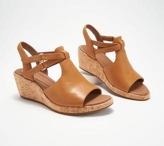 Clarks Leather Wedge Sandals- Un Plaza Way