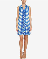 CeCe Tie-Neck Gingham-Print Dress
