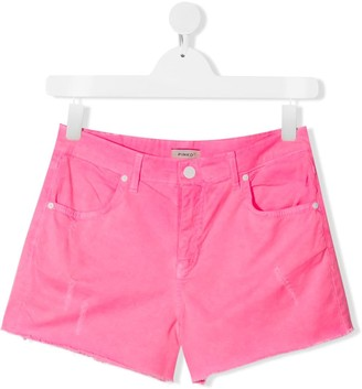 Pinko Kids TEEN distressed detail frayed edge shorts