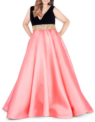 Mac Duggal Plus Size V-Neck Sleeveless Satin Ball Gown with Velvet Bodice