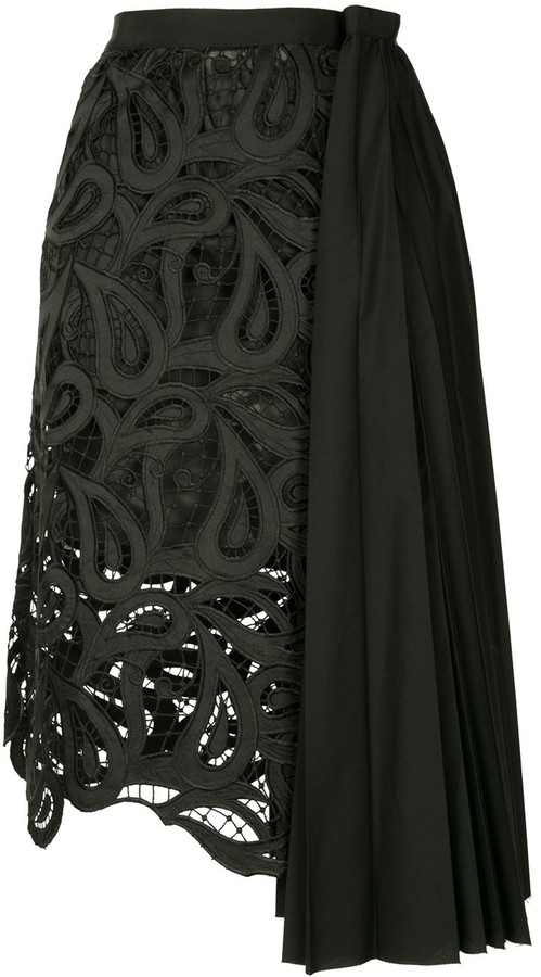 Sacai Contrast-Panel Asymmetric Skirt
