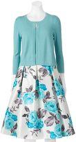 Jessica Howard Women's 2-pc. Cardigan Sweater & Floral Skirt Set