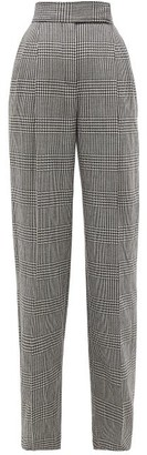 Alexander McQueen Houndstooth High-rise Wide-leg Trousers - Womens - Black White