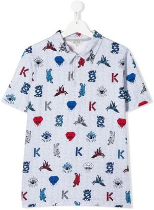 Kenzo Kids TEEN jungle-print polo shirt