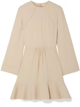 Chloé Fluted Gathered Crepe Mini Dress