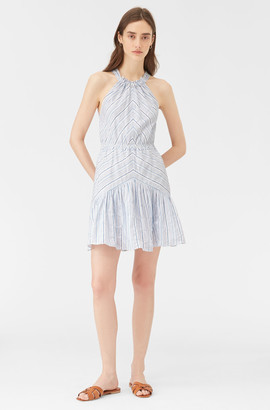 Rebecca Taylor Stripe Halter Neck Dress