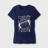 Women's Short Sleeve Sunday Funday Graphic T-Shirt - Navy