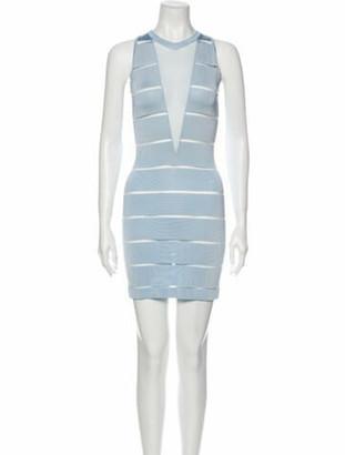 Balmain Crew Neck Mini Dress Blue