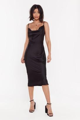 Nasty Gal Womens Sleek Your Mind Cowl Satin Midi Dress - Black - 8, Black