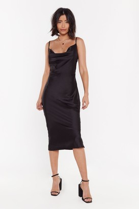 Nasty Gal Womens Cowl Satin Midi Dress with Bias Cut Hem - Black