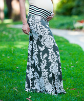Olive & Cream Damask Under-Belly Maternity Maxi Skirt