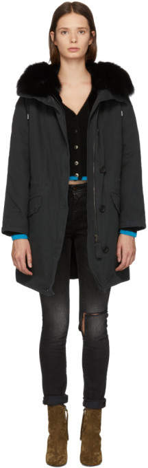 Yves Salomon Army Black Multi Fur Classic Long Parka