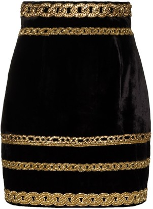 Balmain Embroidered-Chain Velvet Mini Skirt