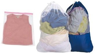 Household Essentials Household Essentilas Laundry Bag Nylon bottom, Polyester Mesh Top, 1 of ea. White & Blue + 1 White Polyester Wash Bag