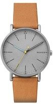 Skagen Men's Signatur Leather Strap Watch, 40Mm