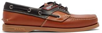 Prada Leather Deck Shoes - Mens - Brown