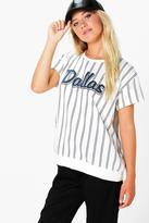 Boohoo Roxy Stripe Slogan Short Sleeve Sweat Shirt