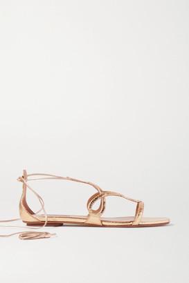 Aquazzura Gitana Metallic Snake-effect Leather Sandals - Gold