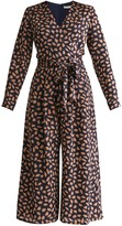 Petal Print Wrap Front Culotte Jumpsuit With Self Belt In Navy Petal Print
