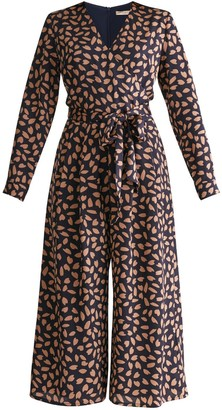 Paisie Petal Print Wrap Front Culotte Jumpsuit With Self Belt In Navy Petal Print